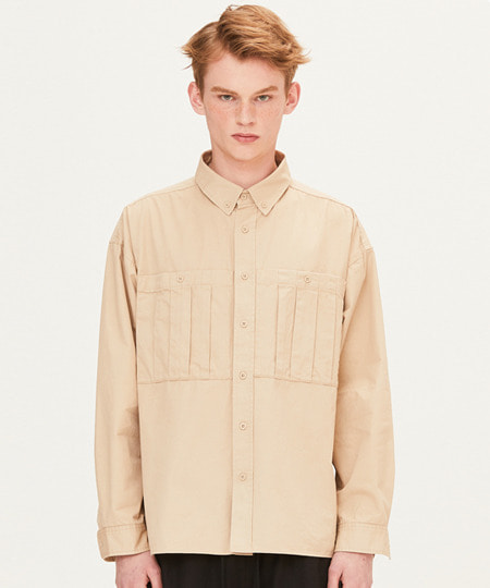 DART POCKET SHIRTS (BEIGE) [FSH001H13BE]