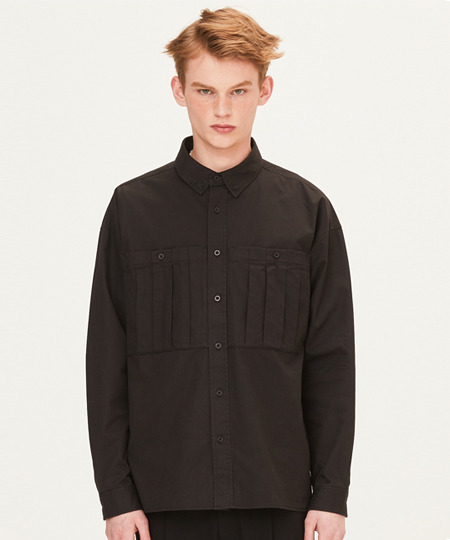 DART POCKET SHIRTS (BLACK) [FSH001H13BK]