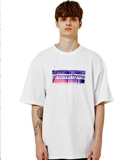 PALM TREE LOGO OVER FIT T-SHIRTS (WHITE) [GTS002H23WH]