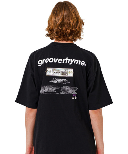 RADIO PRINT OVER FIT T-SHIRTS (BLACK) [GTS010H23BK]